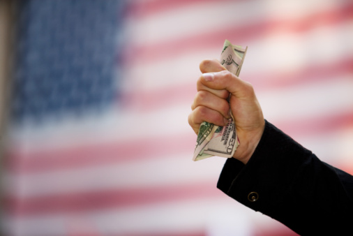american flag and money