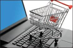 shopping cart and laptop