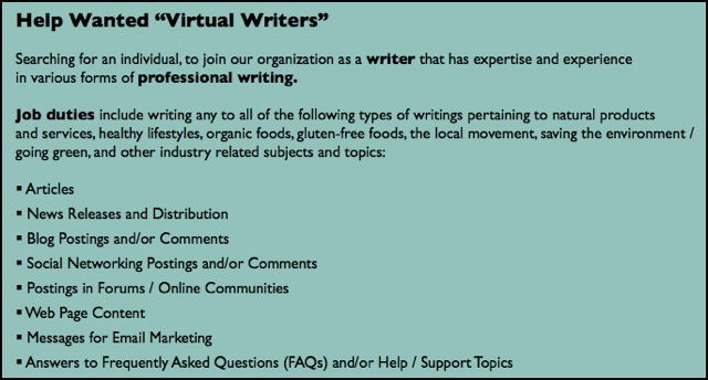 help wanted virtual writer