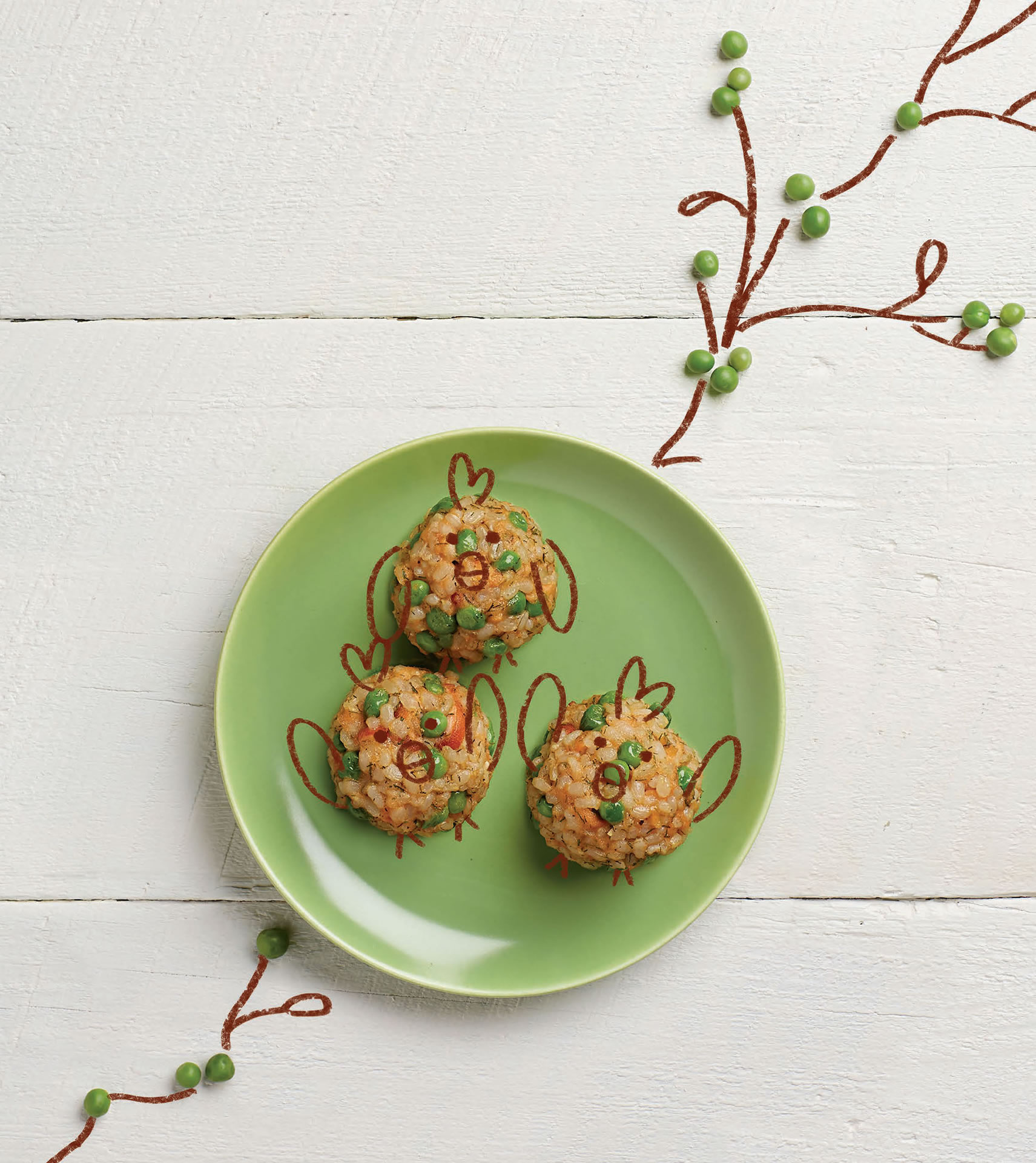 BAKED RICE BALLS WITH SALMON AND PEAS